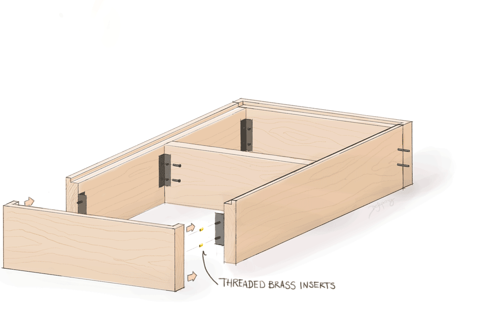 Hand-drawn sketch of bed frame assembly