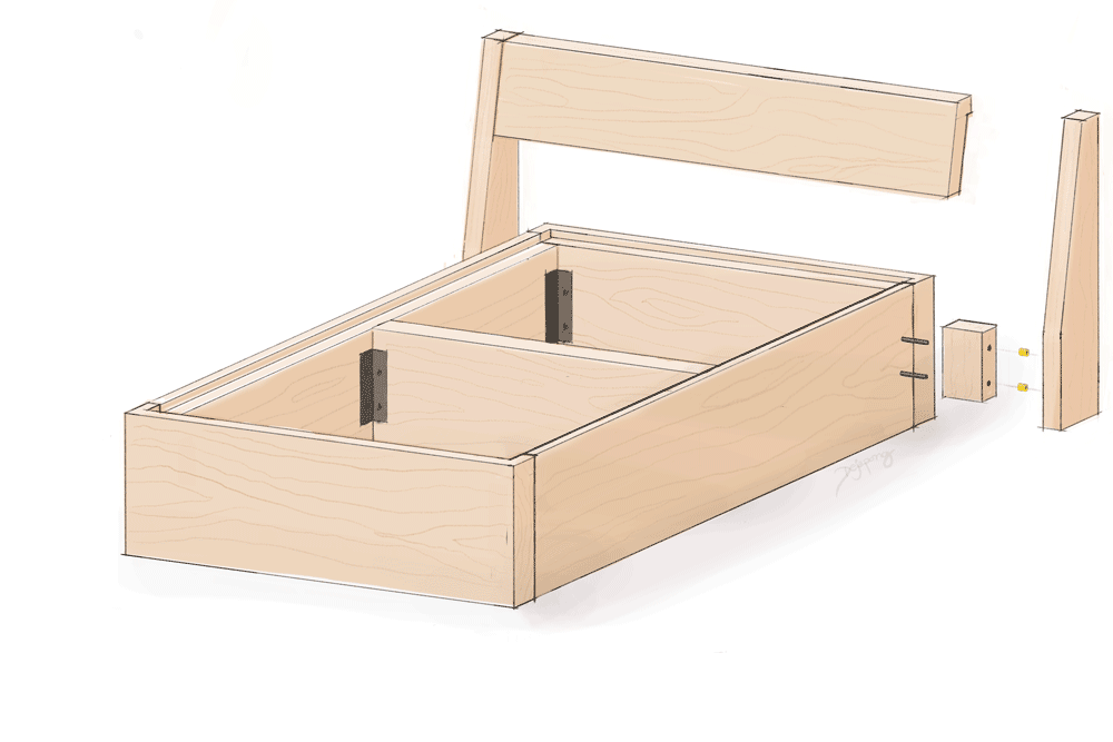 Hand-drawn sketch of headboard assembly