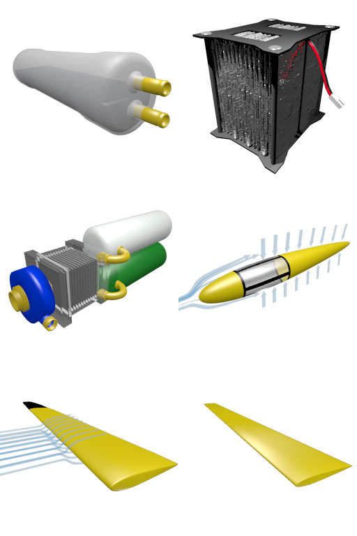Graphics of various glider upgrades