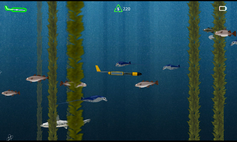 In game screenshot showing glider through kelp with fishes around