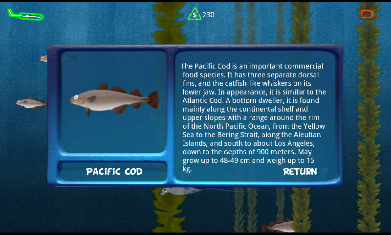 Info screen for Pacific Cod