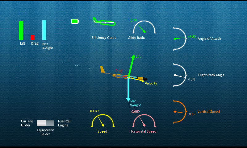 Free flight mode with instruments showing glider data